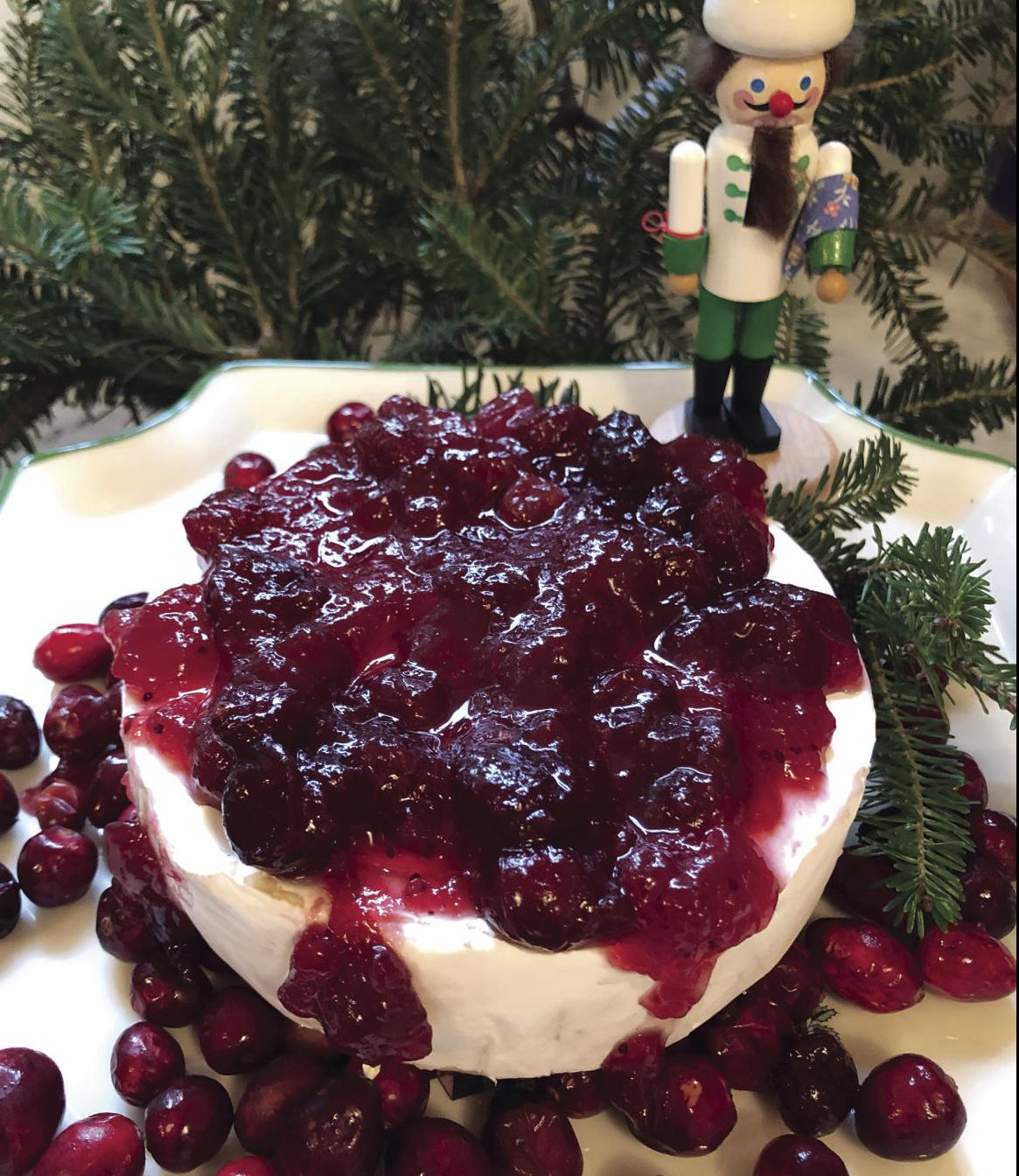 Bake Brie with Cranberry Sauce