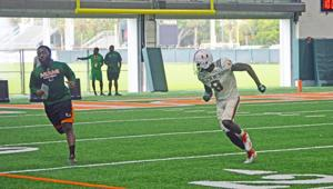 DJ Ivey on the practice field at UM.