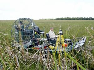 Water level monitoring  stations are spread around the Everglades.  The more remote stations are often accessed by helicopter or airboat.