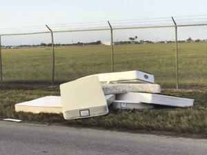 Mattresses dumped outside the gates of Homestead Airport