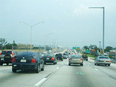 Typical congestion on the Miami highway.