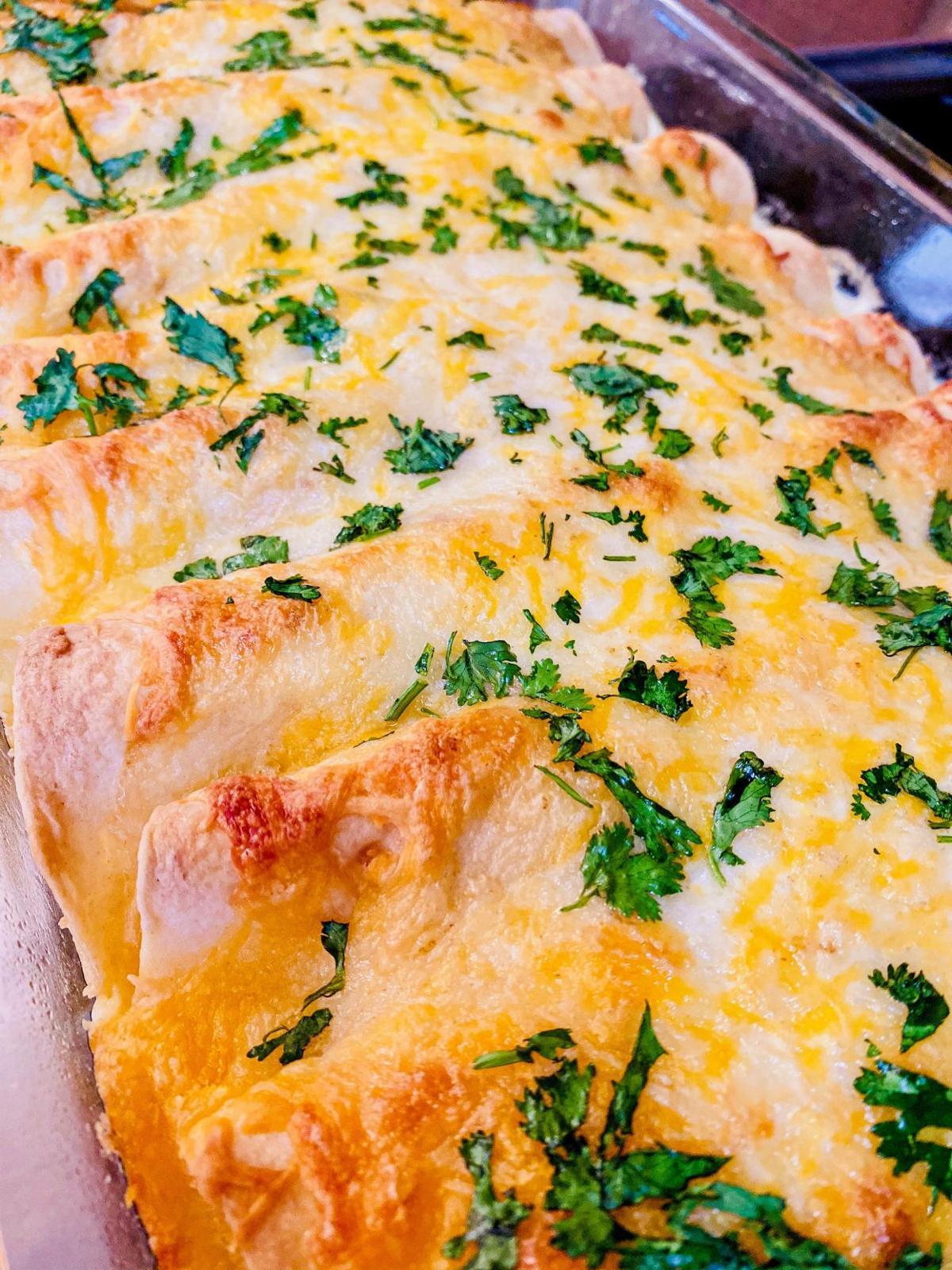 White Chicken Cheese Enchiladas