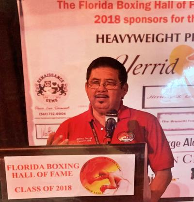 Johnny Torres at the Florida Boxing Hall of Fame.