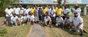 "Commissioner Daniella Cava-Levine (hat) with ""The Bearded Villains Miami,"" the local chapter of the National Club."