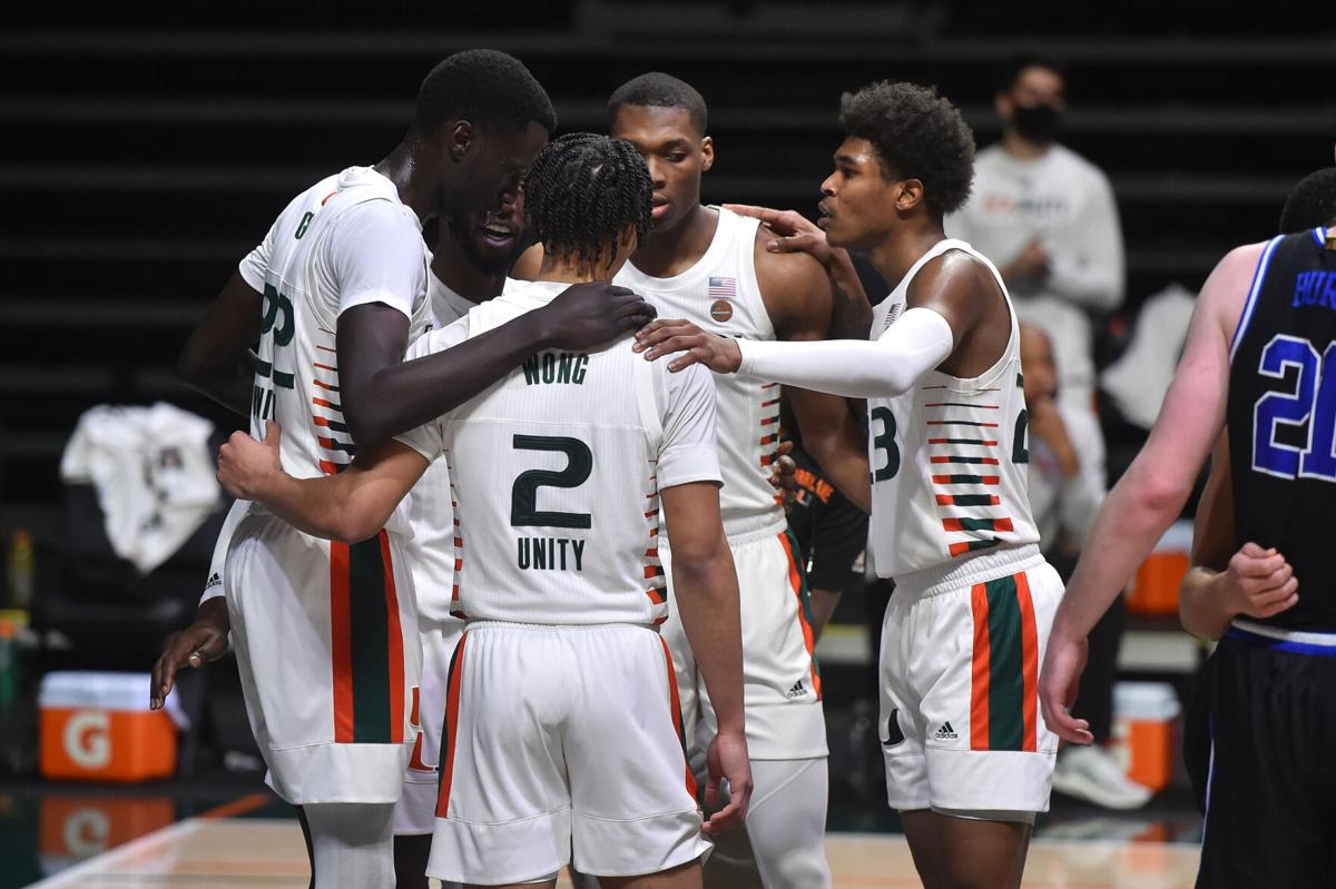 Canes players came together for the win against Duke.