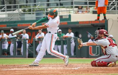 Miami's Adrian Del Castillo at the plate in game 3.