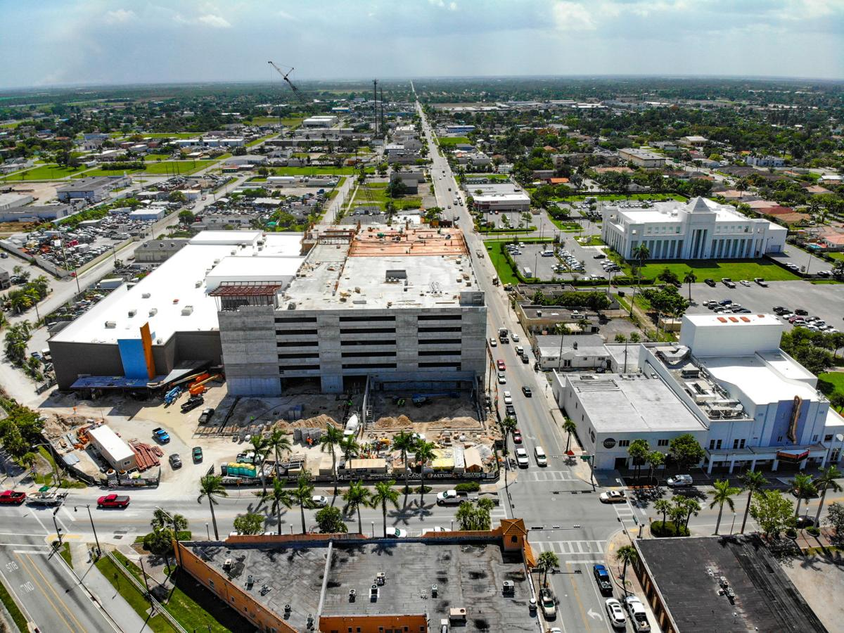 Aerial shot shows three of the major downtown revitalization projects instituted by Homestead.   The large project on the left is the Homestead Station Entertainment Complex and Parking Garage.  Upper right corner is the new Homestead Police Station.  Lower right corner building is the Seminole Theatre, with the new Four Eight Restaurant and Lounge to the left.   The green space to the right of the theatre is Losner Park, which will undergo  renovation in 2020.  Losner Park's boundaries will grow substantially and occupy what is now a bordering parking lot.