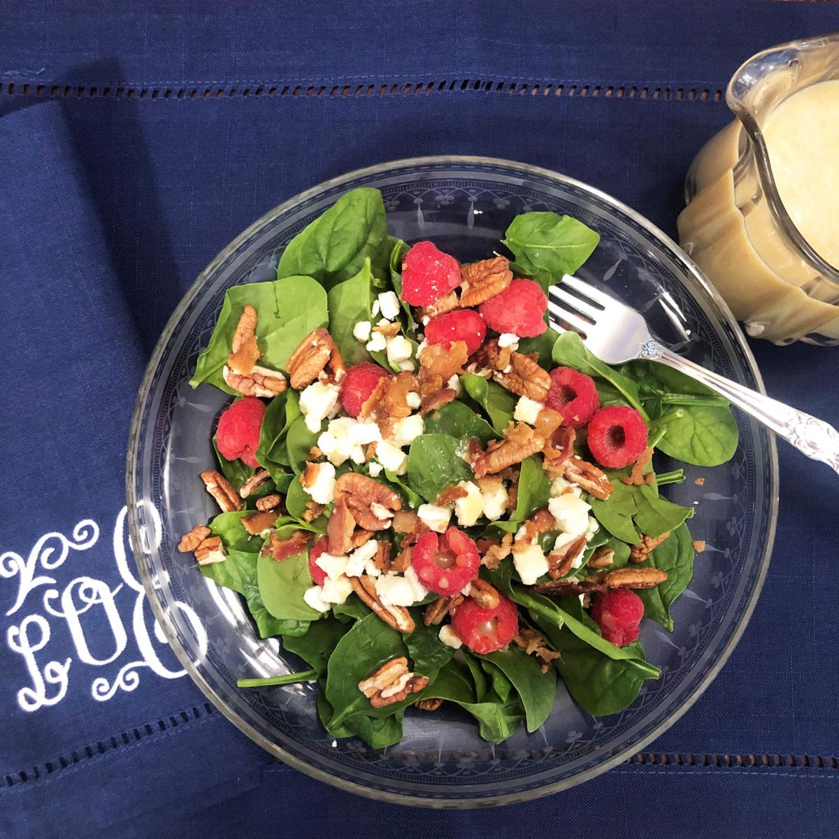 Bacon Raspberry Balsamic Spinach Salad