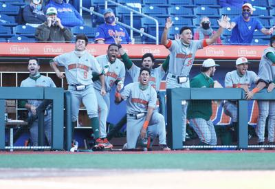 The excitement was contagious in the dugout during Saturday's Canes win against Florida.