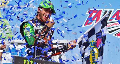 Chase Elliott celebrates his win at Talladega.