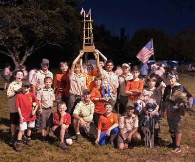 Members of Boy Scout Troop 418 won overall Gateway competition at the Annual Scoutmasters Camporee. This is the highest award given at the event.