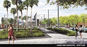 Artist's rendering of proposed Losner Park Entry Plaza.