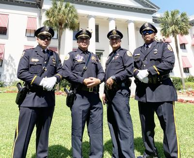 The City of Homestead Police Department Honor Guard, at the Tallahassee remembrance, from left, Ofc. R. Rodriguez, Det. E. Rodriguez, Det. R. Cabrera and Sgt. B. Guzman.