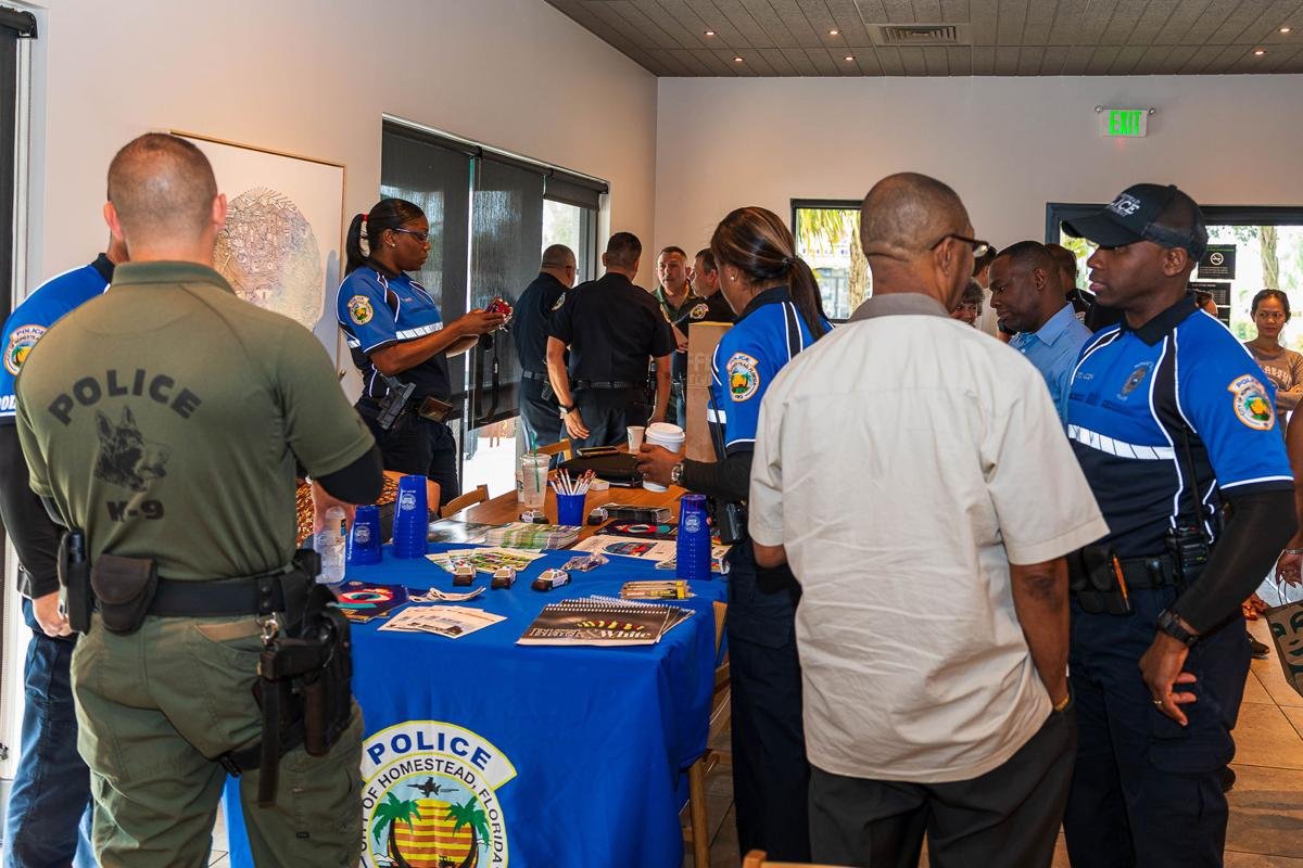 Homestead Police Officers mingle with city residents.