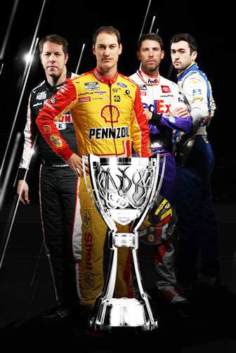 NASCAR Championship Final Four competing  this weekend are (from left):  Brad Keselowski,  Joey Logano, Denny Hamlin and Chase Elliott.