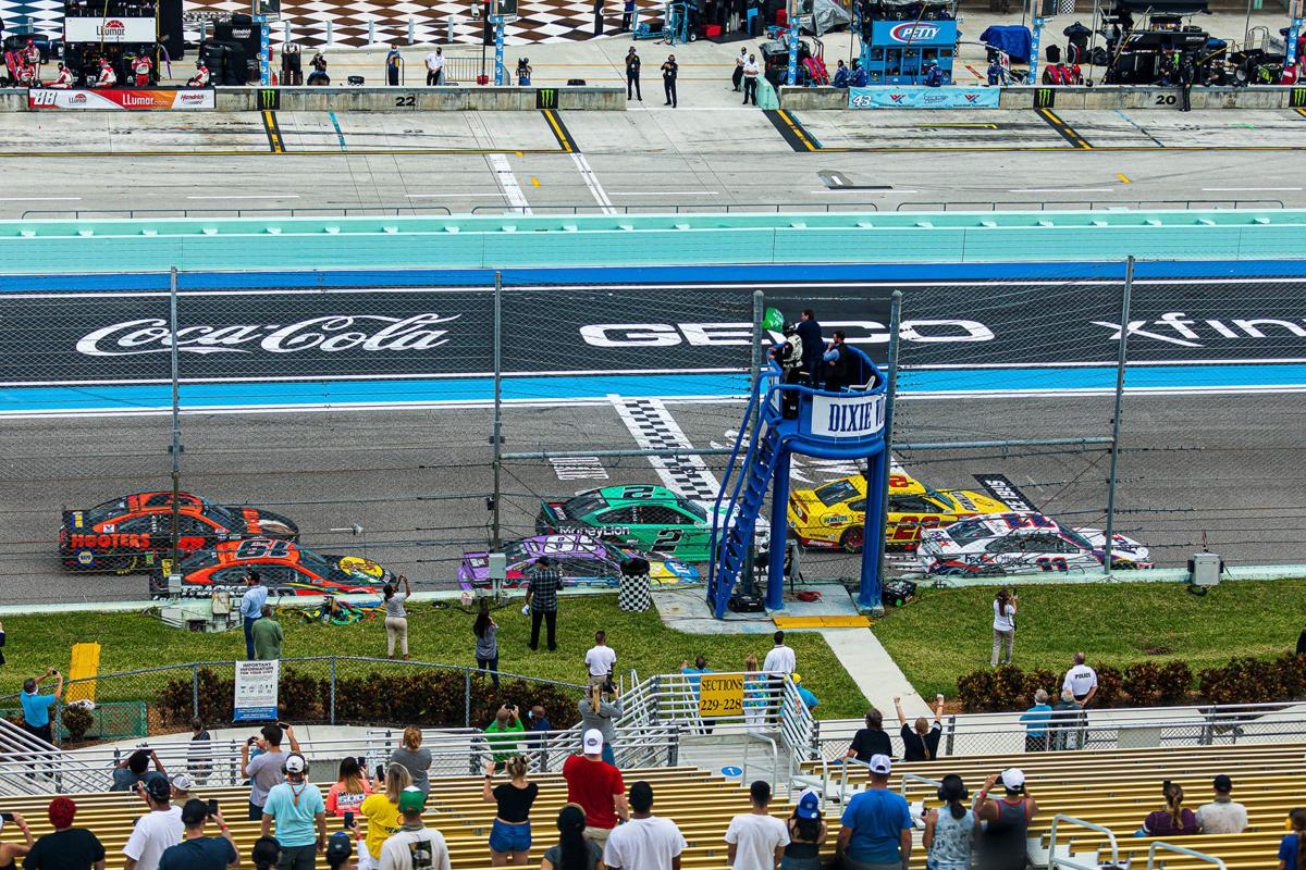 Governor Ron DeSantis waves the Green flag to start the Dixie Vodka 400 during Homestead-Miami  Speedway's 25 Anniversary Weekend.