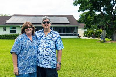 Rob and Robin Burr's solar panel array provides power for their entire house.