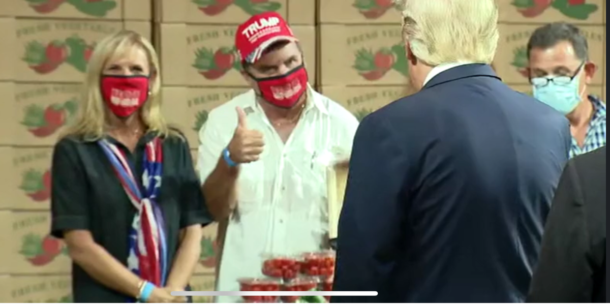 South Dade growers Cheryl and Kern Carpenter (left) and Sam Accursio (right) had the opportunity to speak directly with President Trump about the seasonal vegetable market being swamped by lower priced Mexican competition.