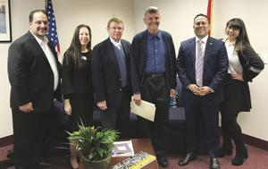 The delegation from the South Dade Farm bureau visiting with the legislators in Tallahassee.  From left: Jorge Abreu, Carolina Vendreme, Tom Rieder, Phil Marraccini, Rep. Duran and Marisol Diaz.