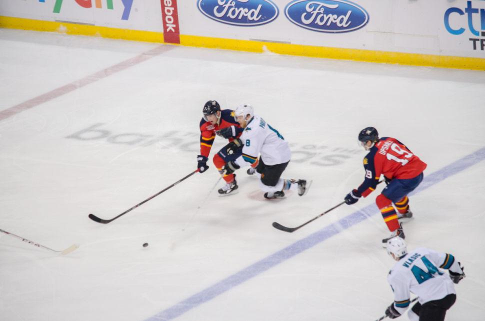 Panthers v Sharks Kulikov and Upshall