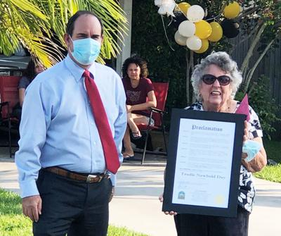 Homestead Mayor Steve Losner presented a  proclamation to Trudie Newbold in celebration of her  90th birthday.