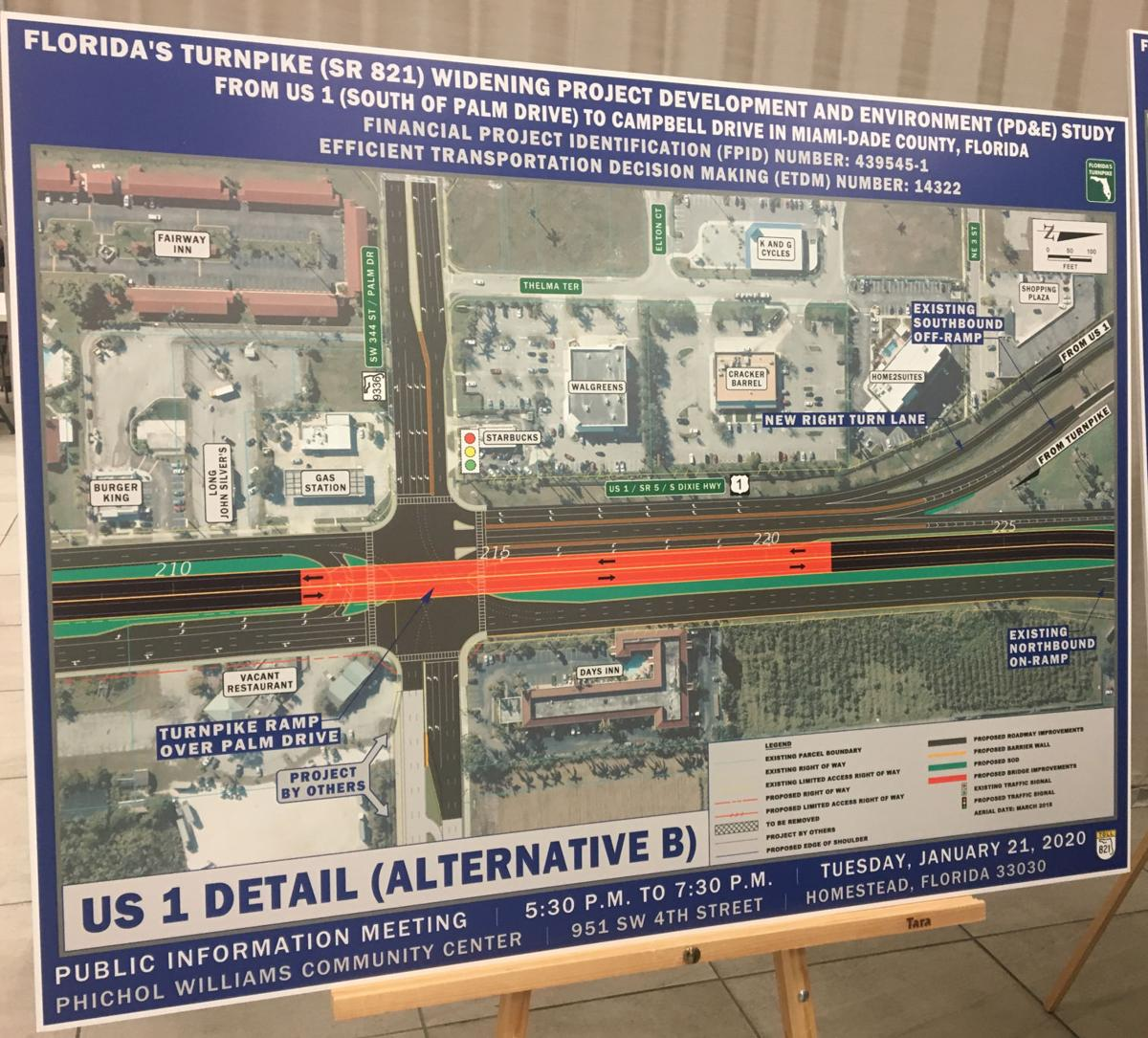 FDOT renderings of the proposed turnpike projects displayed at the Homestead/Florida City public meeting on Jan. 21.