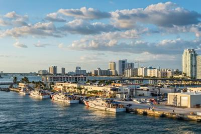 U.S. Coast Guard vessels docked in Biscayne Bay in the Port of Miami.