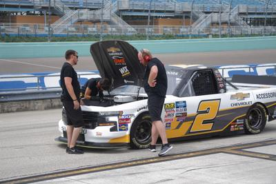 The #2 Chevy truck of NASCAR driver Sheldon Creed, testing at Homestead.