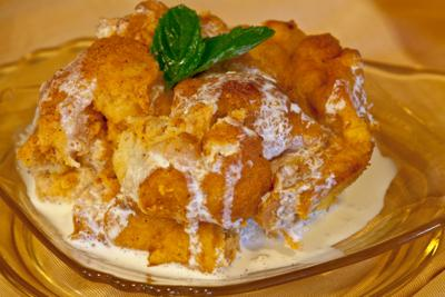 Warm Mango Bread Pudding with Fresh Whipped Cream