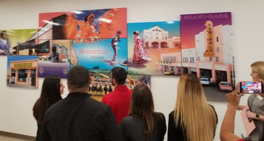 A mural depicting the history of Homestead is on display at the newest Wells Fargo branch at Homestead Towne Square shopping center.