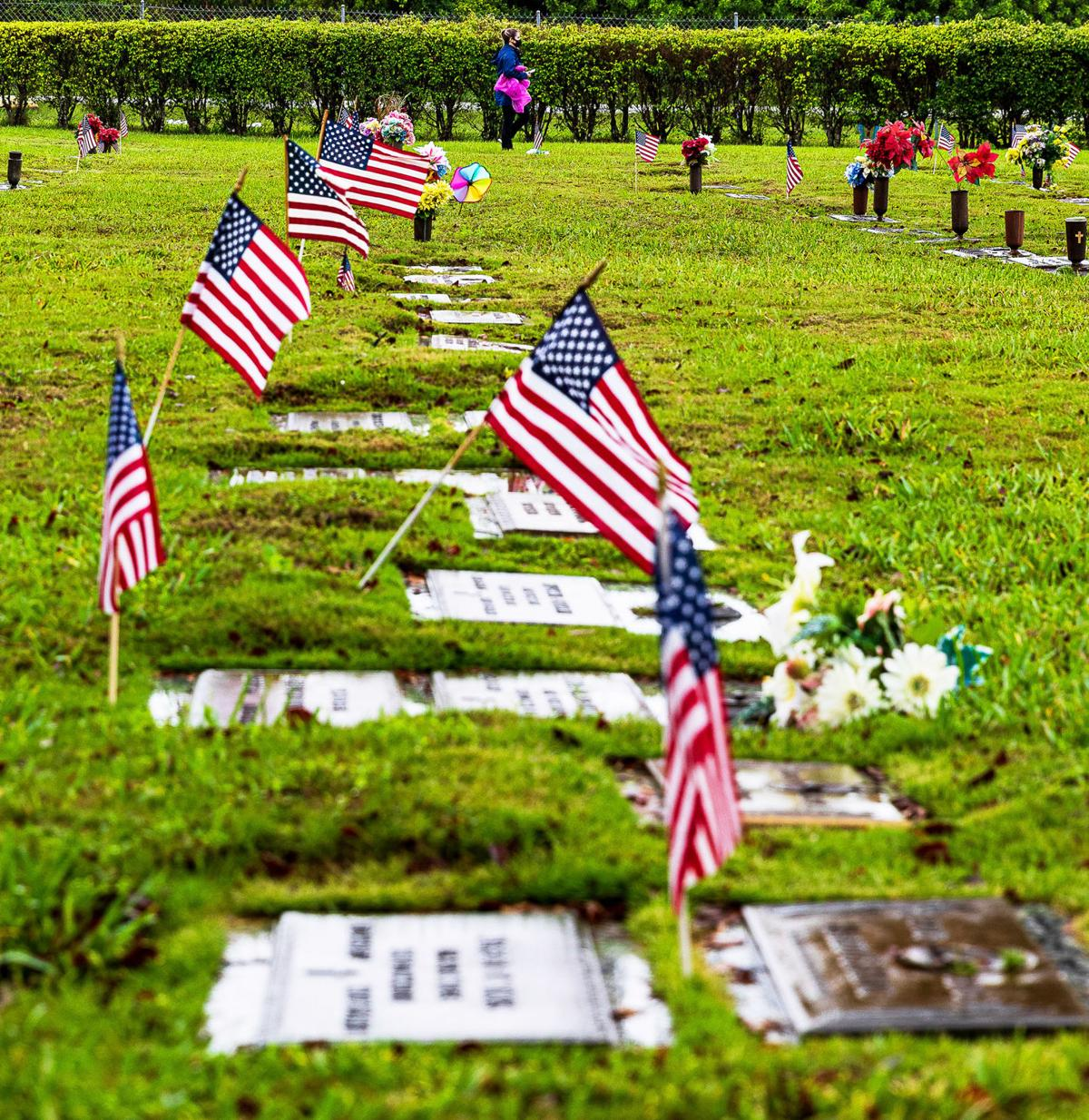 On Memorial Day flags adorned the graves of  Veterans from all of America's wars.