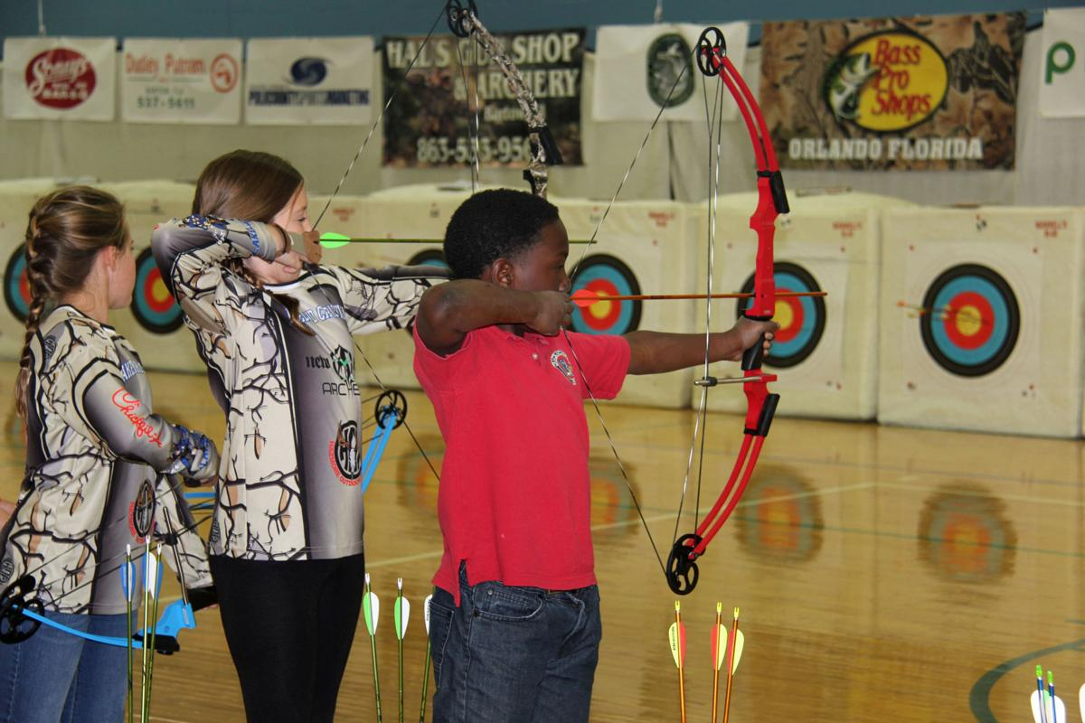 Elementary archers at practice