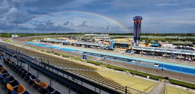 A rainbow over the track signaled it was time to get back to racing after a weather delay.