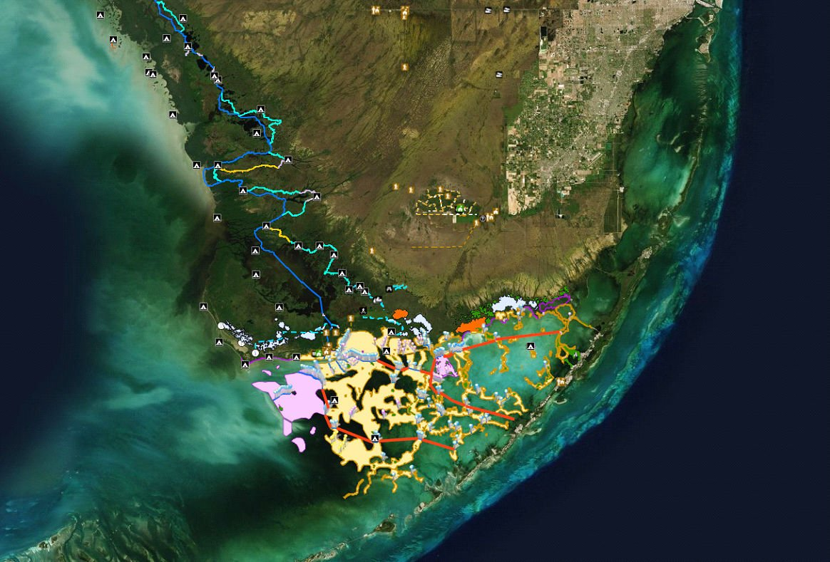 Florida Bay boating  management zones help protect the park's natural resources such as seagrass while also ensuring access to the bay.  Each highlighted  area on this map  represents a  different  management zone type. For example, yellow areas are pole/troll zones and light purple areas are pole/troll/idle zones.  NPS photo