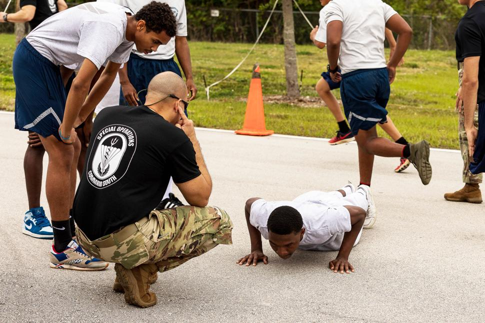 The proper form for a push-up is something cadets learn early on.