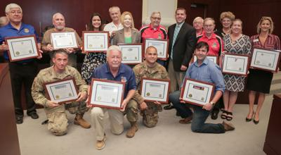 Photo: City of Homestead Military Appreciation Day honorees with Homestead Vice Mayor Stephen Shelley (suit coat)