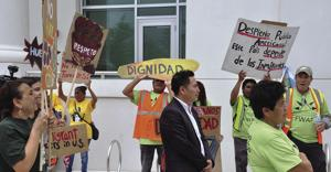 May Day Protestors demonstrating at the Homestead City Hall Plaza