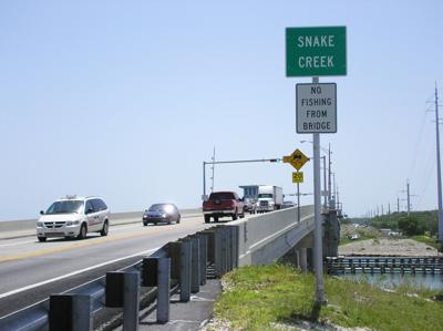 Snake Creek Bridge was completed in 1981. It is the only drawbridge operating in the Florida Keys, located on US1, just past Venetian Shores on the north side, and ends on the southside leading to Hog Heaven Bar & Grill.    Photo: wikimedia