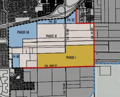 A map shows a rendering of proposed development of the South Dade Logistics and Technology District if the UDB is expanded.