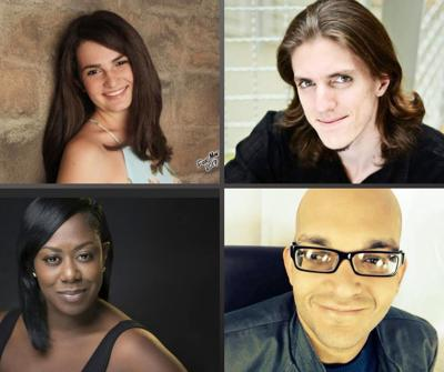 MEET THE CAST OF AIDA: left to right*  Sofia del Cueto Perez is the asst stage manager for Aida, she will be ensuring all goes smoothly during the performances on June 21-30.     Joseph Ross returns to the stage to play Zoser as well  as lend his skills in choreographing the fight scenes.    Toddra Brunson stars as Aida! Toddra is no stranger to the stage, film, or web, as she has graced many stages, recording studios, webseries, movies and more!    Héctor Serrano plays the Pharoah! Behind those glasses and sweet smile lurks an amazing musical voice.