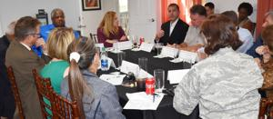 Rep. Debbie Mucarsel-Powell leads a 'roundtable' discussion with local South Dade Leaders at Schnebly Winery.