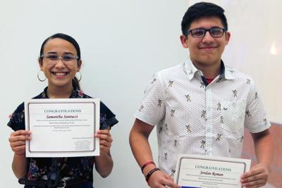Essay contest winners Samantha Santucci and Jordan Roman.