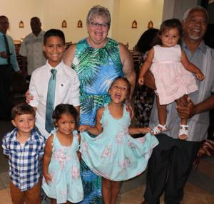 Doris and Mr. Wonderful with their grands