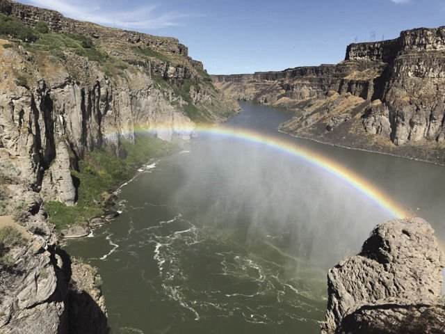 Rainbow over the Shoshone Falls on the Snake River.