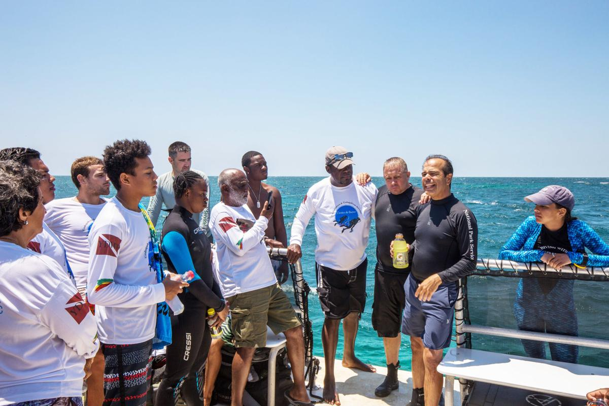 South Florida National Parks' Superintendent Pedro Ramos and Chief of the National Park Service's Submerged Resources Center (SRC) Dave Conlin address members of the YDWP program topside.