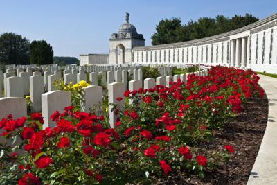 Flanders Field American Cemetery and Memorial,  a World War I cemetery on the southeast edge of the town of Waregem, Belgium. Poppy flowers began to grow after the burial of the fallen soldiers.