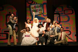 """The cast of """"Hairspray,"""" playing at the Seminole Theater through August 13th."""
