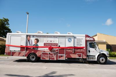 CHI's 40-foot mobile medical van provides a team of  providers using top of the line equipment to offer primary care, pediatrics and mental health services.