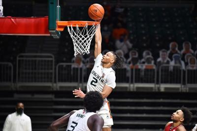 """Sophomore guard Isaiah """"Zay"""" Wong, as the Louisville Cardinals are at the Miami Hurricanes."""
