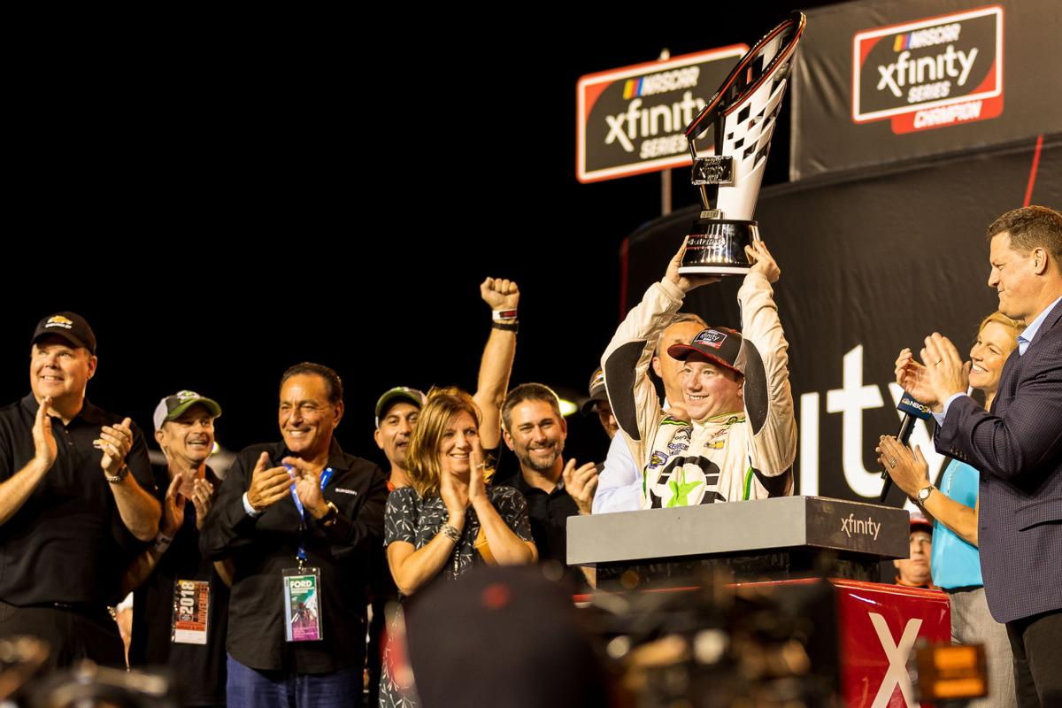 Tyler Reddick celebrating his 2018 Ford Eco Boost 300 championship win.